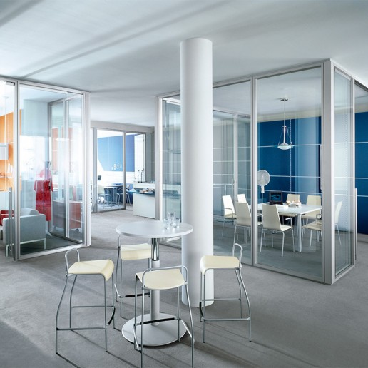 aluminum office glass partition with swing door