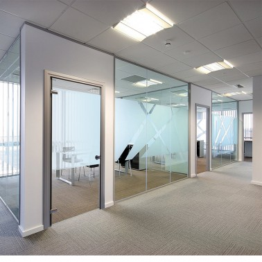office glass wall with one way swing glass door design