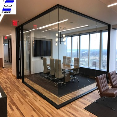 Full glass tempered clear glass office partitions