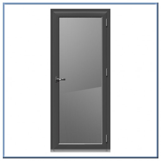 Aluminum casement swing bathroom door with frosted glass