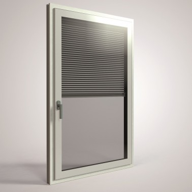 aluminum white french casement windows with automatic opener mosquito net built in blinds