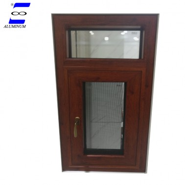 wooden color aluminum casement window with mosquito net