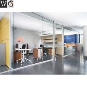 Tempered glass office partition aluminum sliding door partition wall