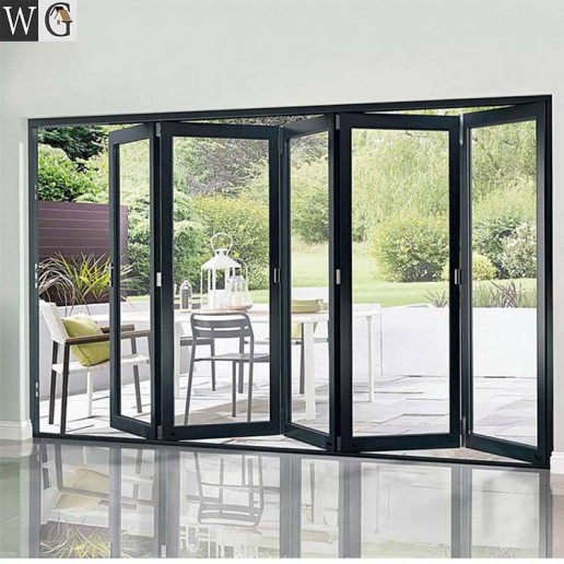 Customized Thermal break aluminum glass folding/bifold/bi folding door