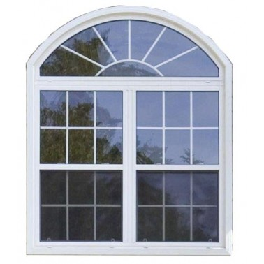 Arch design double glass aluminum casement window with fixed glass