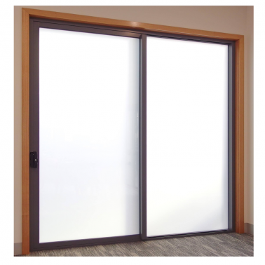 Powder coated 2 panel push open aluminium frame sliding glass door for commercial use