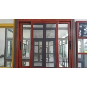 wood grain aluminum sliding window prices with mosquito net