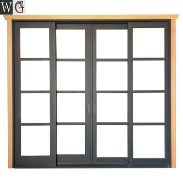 Aluminum Horizontal Simple design Sliding Door With tempered Glass Grill Design